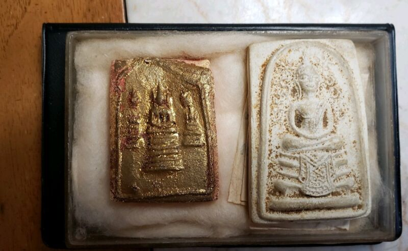 2 OLD THAILAND BUDDHIST TEMPLE AMULETS