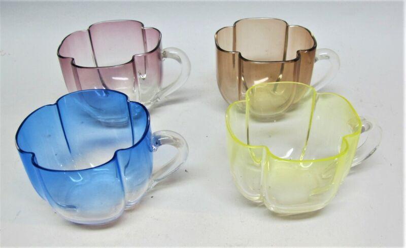 Rare JOSEF HOFFMANN for MOSER Clover Art Glass Tea Cups c. 1930