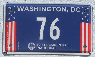 Washington D.C. 2021 USA Biden / Harris Amtseinführung Motorrad Kennzeichen