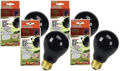 (4 Pack) Zilla Reptile Terrarium Heat Lamp Incandescent Bulbs, Night Black, -