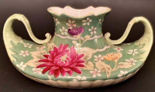 Antique Unusually Fluid WIDE LOW OVOID VASE Organic Handles Handpainted Flowers