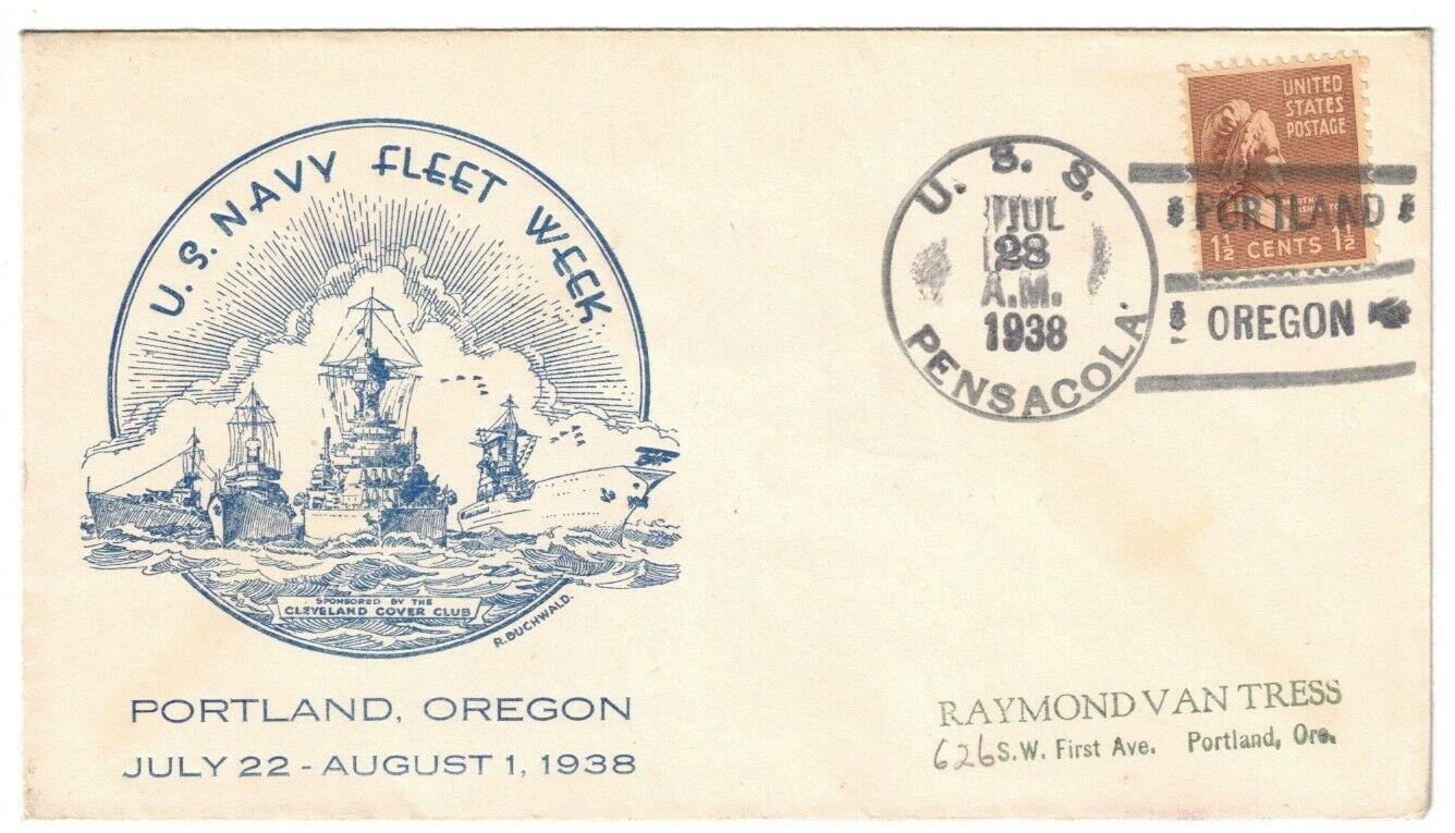 USS PENSACOLA CA-24, JUL 28, 1938, PORTLAND / OREGON T-3s A 1935-1937 CANCEL - $3.25