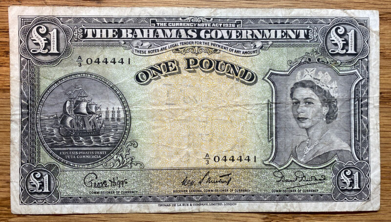 1953 The Currency Note Act Of 1936 Bahamas Government £1