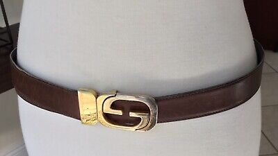 VINTAGE MENS GUCCI CLASSIC GG GOLD HARDWARE REVERSIBLE BROWN LEATHER BELT SZ 36