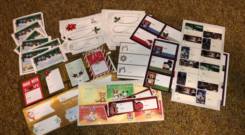 89 Christmas TO FROM Gift Tags Peel And Stick Various Designs As Pictured