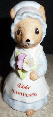 February Birthday Mouse Animal Figurine Enesco Violet Faithfulness Miniature