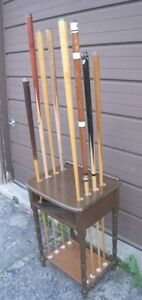 Used wood 8 Billiard Pool Cues with stand, $250 for all