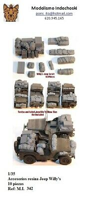 1/35 kit Resina accesorios para Willy's Jeep estiba DIORAMA 10 piezas WWII carro