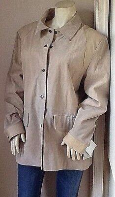 NWT Ladies BAGATELLE Mid-Length Leather Barn Coat Jacket Cream Suede Leather XXL - Ladies Leather Mid Length Jacket