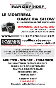 Le Camera Show a Montreal dim, le 2 avril (La foire de la Photo)