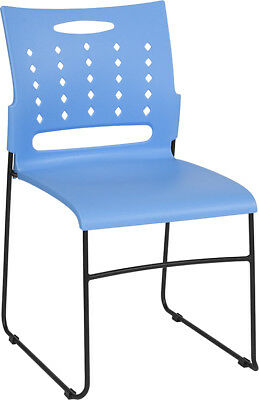 Heavy Duty Sled Base Blue Plastic Office Guest Chair - Waiting Room Chair