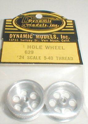 Dynamic 6 Hole Custom Aluminum Slot Car Wheels 1 Pair 5:40 Thread 1960 NOS 629-6