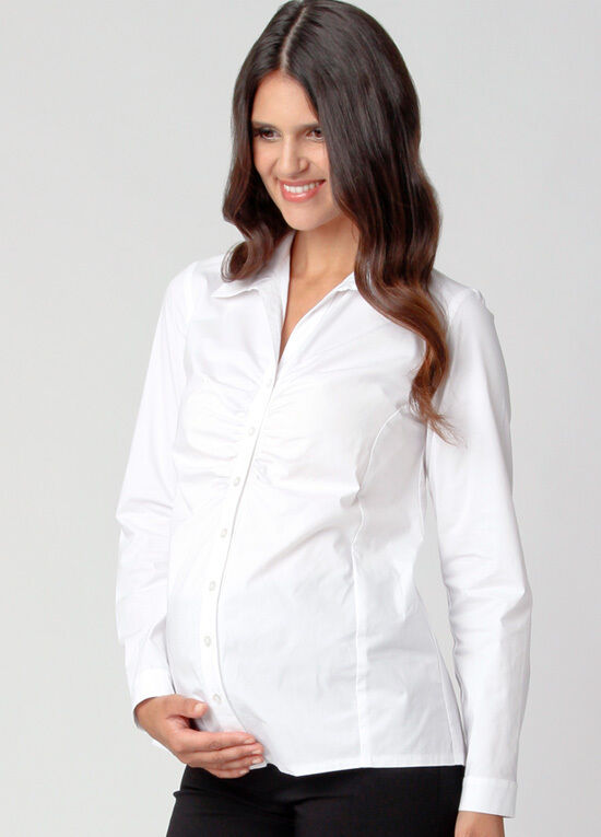NEW Ripe MATERNITY US size 12 Classic White Ruched Business