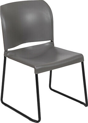 Heavy Duty Gray Stack Office Chair With Sled Metal Base - Waiting Room Chair