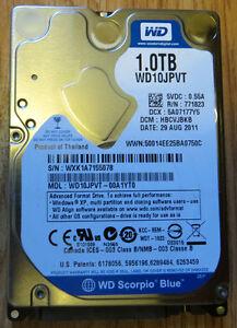 Laptop HD 5400 RPM SATA II 8 MB Cache WD10JPVT (Blue)