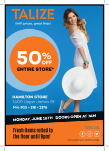 TODAY ONLY-50% OFF STORE WIDE! TALIZE HAMILTON