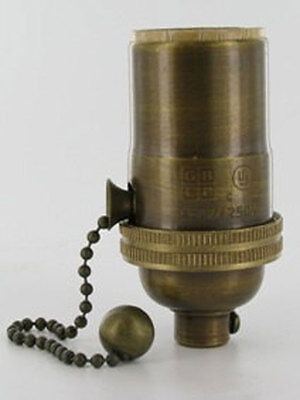Antique Brass Light Socket - Pull Chain Switch - for Pendant Light or Lamp
