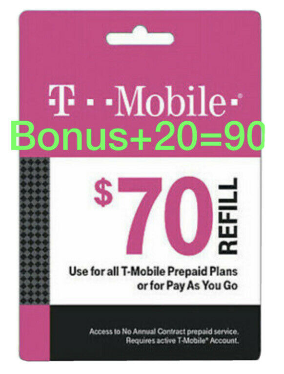 T-Mobile Prepaid Refill Card $70 (DIRECT REFILL)  Comes With Bonus $20