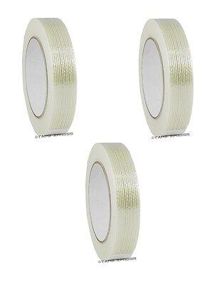3 Rolls 1 X 60 Yd Filament Reinforced Strap Fiberglass Tape 3.9 Mil Free Ship