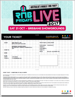 2 18+ RNB Friday's Live Brisbane Premium Tickets