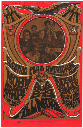 Electric Flag MOBY GRAPE Steve Miller South Side Sound POSTCARD BG 77 1967