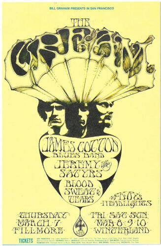 CREAM James Cotton, Jeremy Stieg, BS&T 1968 Original FILLMORE POSTCARD BG 110