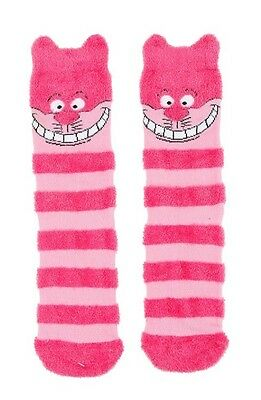 Disney Alice In Wonderland Cheshire Cat Ears Pink Striped Cozy Socks