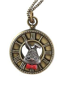 Disney Alice In Wonderland Necklace White Rabbit Clock Pendant