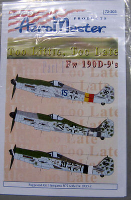 Aeromaster 72-203 1/72 Too Little Too Late Fw190D-9''s Pt.I Decal Sheet