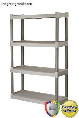 Plano 4-Shelf Storage Shelves Organizer Unit Garage Shelving Rack Heavy