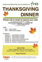 Free Kids and Family Thanksgiving Dinner