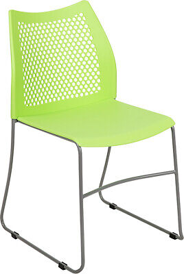 Heavy Duty Green Stack Office Chair With Sled Metal Base - Waiting Room Chair