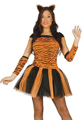 Damen Sexy Tiger Katze Tier Tutu Junggesellinnenabschied Halloween Kostüm Kleid ()