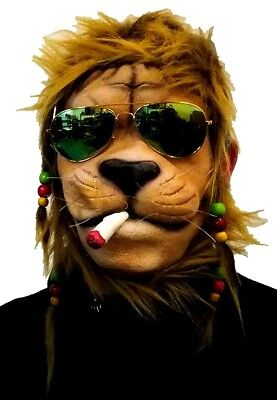 Maske Löwe Jamaika Joint Rasta Zöpfe Brille Reggae Tiermaske Latex Partylöwe - Joint Kostüm