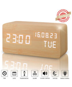 BRAND NEW (Voice Control)Wood LED Alarm Clock