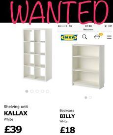 Wanted billy bookcase & kallax unit
