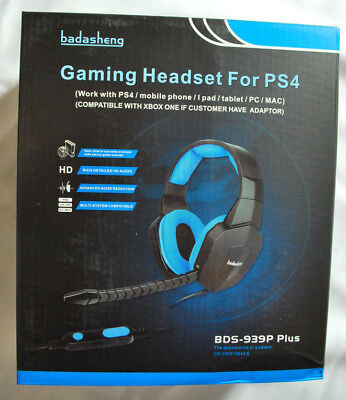 wBadasheng BDS-939P Plus, 5-in1 Gaming Headset for PS4, PC, Mac, Mobile, Tablet