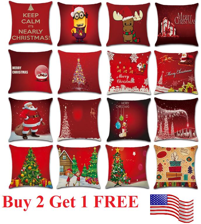 18 x 18 Inch Merry Christmas Xmas Designed Throw Pillow Case Cover Cushion Decor Home & Garden