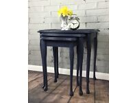 Vintage Retro Nest of Tables/Hand Painted Navy