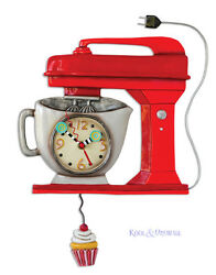 Funky RED VINTAGE MIXER Cafe Designer Wall Clock by Allen Designs