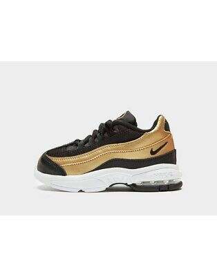 Nike Little Max 95 Infant Size UK 3.5,4.5,5.5,7.5,8.5,9.5 INF Black-Golden