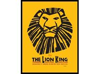 X2 lion king tickets for tonight's showing