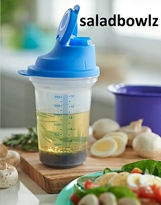 TUPPERWARE New ALL-IN-ONE SHAKER Measure Mix Store Dripless Seal BLUE fREEsHIP!