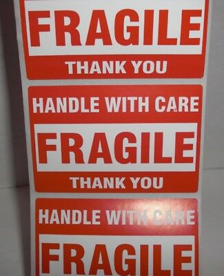 Fragile Handle With Care Thank You 2x3 Red Medium Sticker 20-30-50 Labels Lk