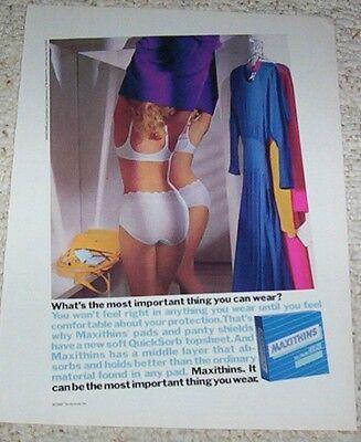 1987 print ad - Maxithins feminine pads Girl in panties bra lingerie vintage AD
