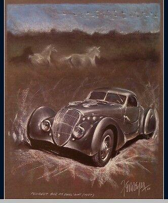 1937-kunst (PEUGEOT 402 DS Darl´Mat 1937 Kunstdruck Original Ferreyra-Basso)