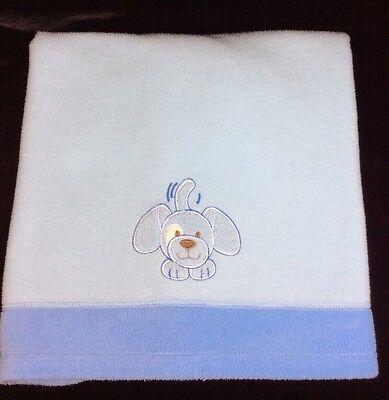 Blankets & Beyond Blue Fleece Puppy Dog Baby Blanket