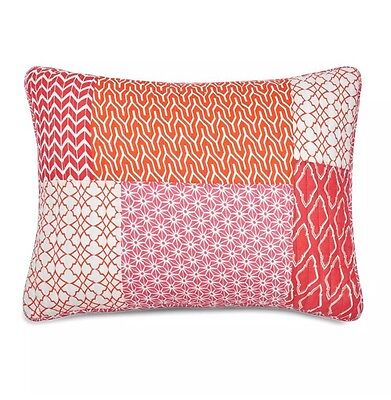Jill Rosenwald West Point Home Coral Multi Patch King Sham New