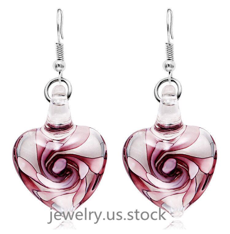 Women White Gold Plated Rose Flower Glass Heart Clear Drop D