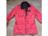 Genuine BARBOUR Red Chilli international Biker style jacket size 8 will post